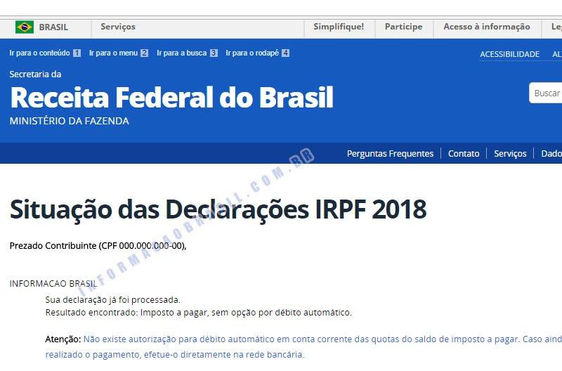 Restituição 2018 Impostos a pagar