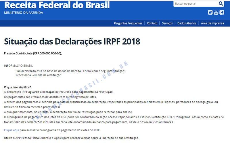 Restituição 2018 - Tela declaração processada