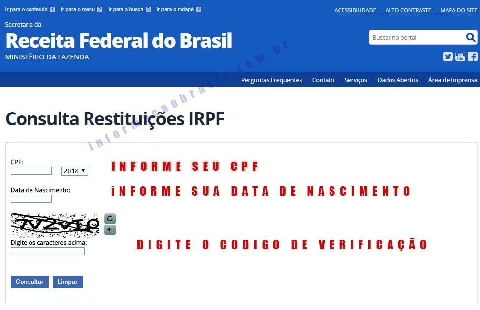 Restituição 2018 imposto de renda tela